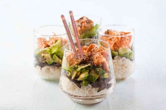 Salmon-Infused Sushi Salads