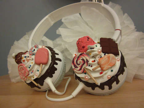 Candy-Clustered Headphones - These Candyland Sweetie Cupcake Headphones Feature Your Favorite Treats