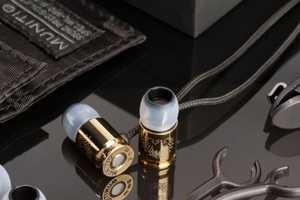 Gold Titanium-Coated Bullet Earbuds by Munitio are Opulent