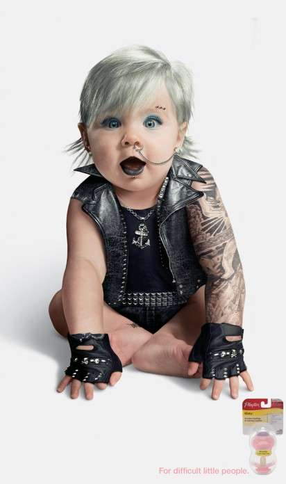 Tattooed Baby Ads - The Playtex Binky Campaign Targets 'Difficult Little People'