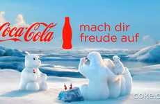 Personified Polar Bear Promos - The Coca-Cola Polar Bears Create a Snowman Polar Bear In This New Ad