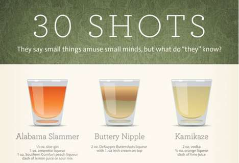Alcoholic Shooter Infographics - This Infographic Explores 30 Shots of Alcohol with Funny Names