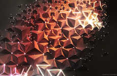 Cosmic Origami Artwork - Joanie Lemercier Projects Light Effects on 3D Origami Art