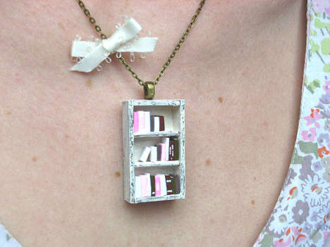 Literary Furniture Pendants - The Bookshelf Necklace is a Great Gift for the Bookworm