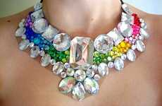 Rainbow Crystal Chokers - Rhinestone Statement Necklaces are Chearful and Colorful