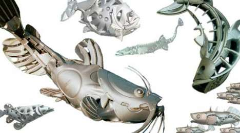 Recycled Auto Part Art - Hubcap Creatures