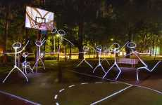 Athletic Light Graffiti - Stickman Basketball Players
