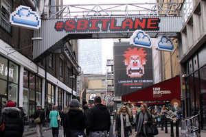 Disney Advertises Upcoming Movie with 8-bit Lane Street Art