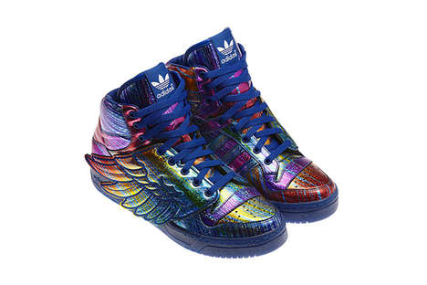 Metallic Rainbow-Colored Sneakers - The JS Wings Hologram Shoes are Vibrantly Wild