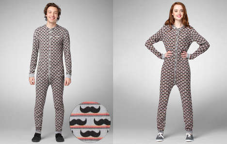 Manly Patterned Onesies - The Mustache Onesie is Ideal for Cold Winter Nights