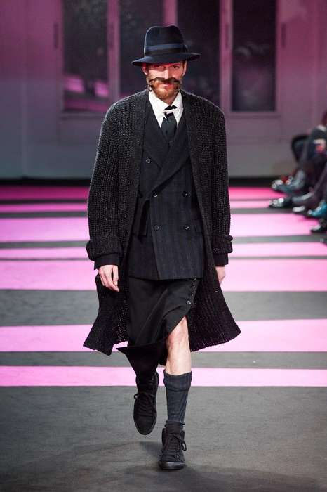 Magnificently Moustached Runways - The Yohji Yamamoto AW13 Show Features Manly Accessories