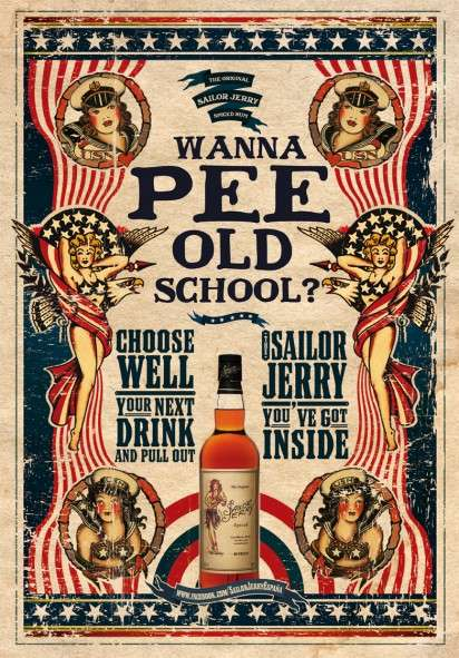 Circus-Like Booze Posters - The Sailor Jerry Ad Campaign Promotes an Old School Pee
