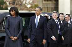 Nonpartisan Necktie Dresses  - Michelle Obama's Inauguration Dress Comes From Thom Browne
