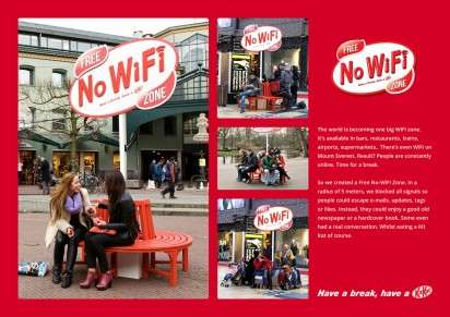 Anti-Internet Chocolate Zones - Kit Kat Sets Up a No Wifi Zone without Internet to Give a Break