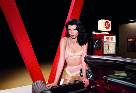 Gas Station Pin-Up Pictorials - The Crystal Renn Agent Provocateur Spring Campaign Beams