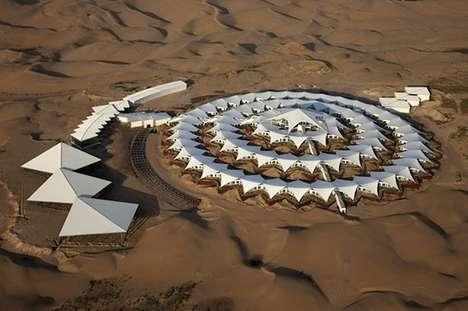 Self-Sustaining Desert Hotels - This Modern Hotel Floats on Sand in the Gobi Desert