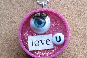 Upcycled Caps and Eyeballs Make for Unique Valentine Jewelry