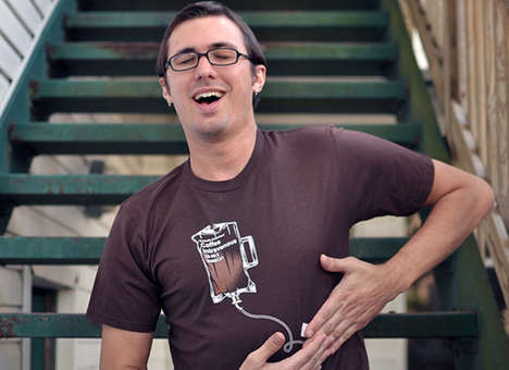 Medically Inspired Coffee T-Shirts - The Coffee IV T-Shirt Cleverly Displays Caffeine Addiction