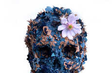 Blooming Cadaver Art - The Linda Tsai Leather Skull Sculptures are Hauntingly Beautiful