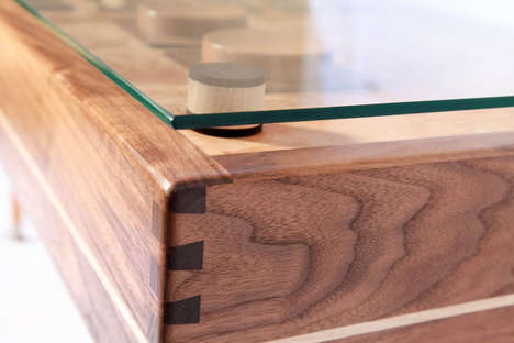 wooden Nintendo controller coffee table