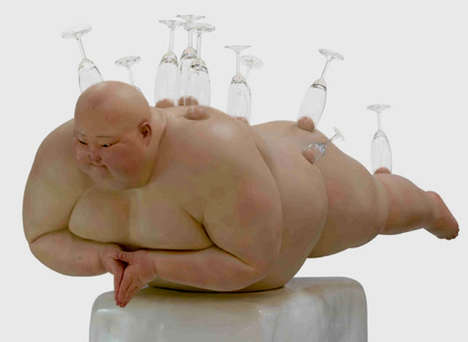 Obese Fleshy Figurines - The Mu Boyan Fat Man Sculpture Series is Seriously Overweight