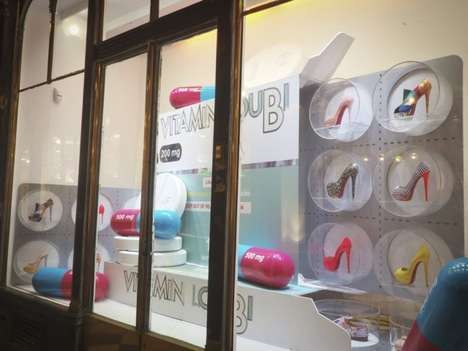Pill Popping Shop Displays - The Christian Louboutin Vitamin LouBi Windows Encourage Shopaholics