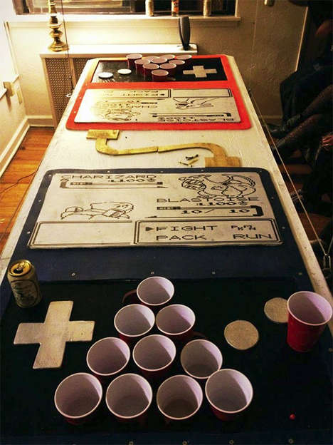 Video Game Drinking Tables - This Beer Pong Table is Inspired by a Pokemon Battle Sequence