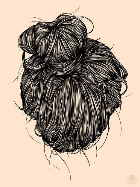 Intricate Hair Illustrations - The Gerrel Saunders Portraits Recreate the Beauty of Hair