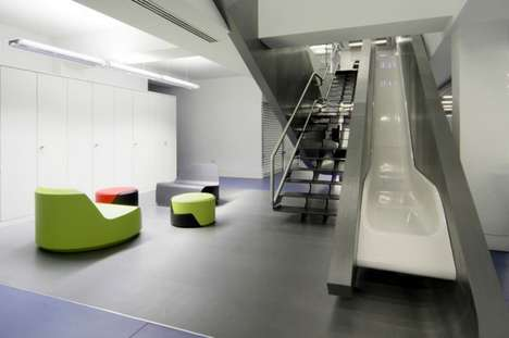 Contemporary Slide Offices - The Red Bull London Office is an Adult Playground