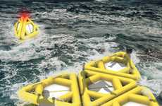 Pyramidal Marine Buoys - The Life Triangle Functions as a Marker, a Life Raft and a Capsule