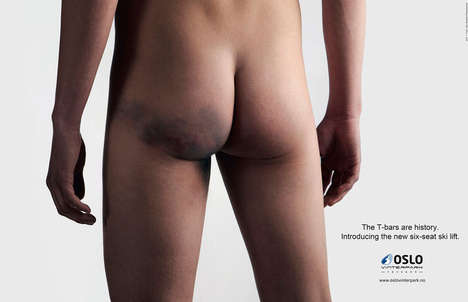 Bruised Bottom Ads - The Oslo Vinterpark Campaign Introduces Improved Ski Lift Chairs