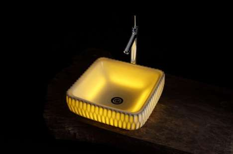 Lit-Up Lavatory Fixtures - Masahiro Minami Creates Translucent Washbowls for an Artistic Bathroom