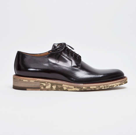 Dapper Camo-Soled Footwear - The Dries Van Noten Derby Shoe is Made for Military Desk Jobs