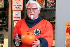 KFC's Goku Colonel Sanders Statues Promote the New DBZ Movie