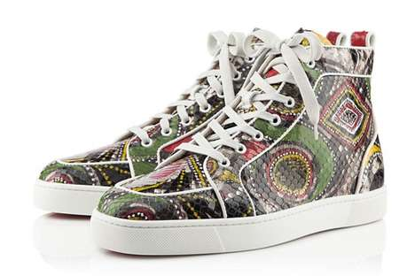 Geometric Serpentine Sneakers - The Christian Louboutin Snakeskin Sneakers Slither into S/S 2013