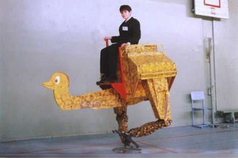 Wooden Animal Androids - The Walking Ostrich Robot by Konstantin Ivanov Can Carry a Human