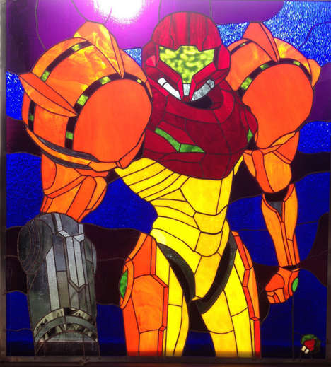 Stained Glass Gaming Heroes - This One of a Kind Samus Creation from Metroid is Out of This World