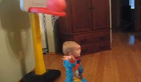 Toddler Basketball Trick Shots - Two-Year-Old Titus Ashby is Likely Better at Basketball Than You