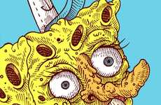 Grotesque Iconic Character Sketches - These Spongebob Drawings by Beto Garzo are a Warped Depiction
