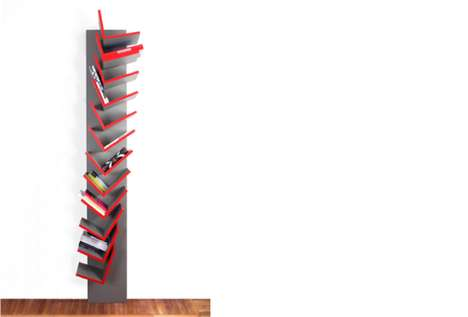Lopsided Ledge Bookshelves - The Spiga Bookcase Comprises a Stack of Askew L-Shaped Cradles