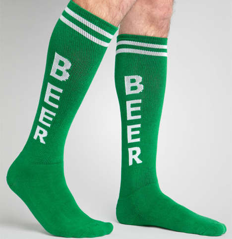 Festive Alcohol-Branded Hosiery - The Green Beer Socks are the Perfect St. Patrick's Day Apparel