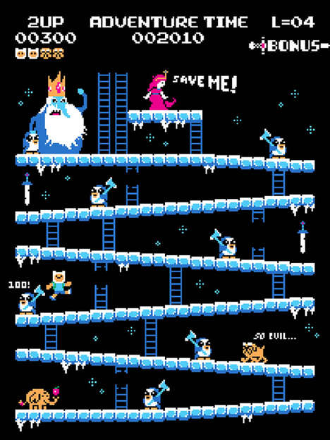 8-Bit Video Game Crossovers - BazNet's Series Depicts Pop Culture Infused into Donkey Kong