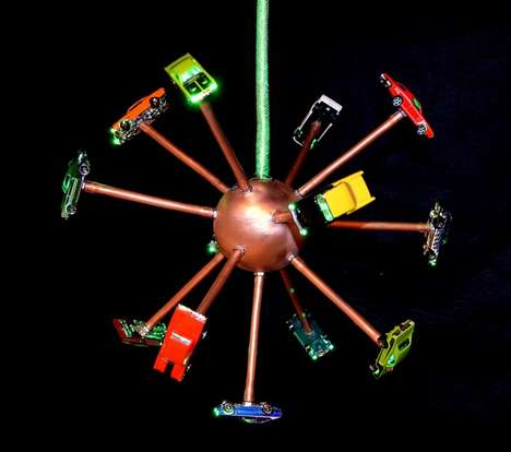 Toy Car Lighting Solutions   - Artist Mike Glancey Has Created a Charming Lamp Using Toy Cars