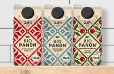 Cross-Stitched Milk Cartons - Panon Dairy Packaging is Embroidery-Patterned for a Homespun Aesthetic