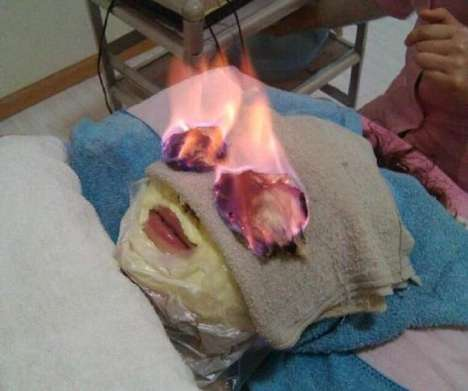 Burning Beauty Treatments - The Huo Liao Procedure Involves Setting a Person's Face on Fire
