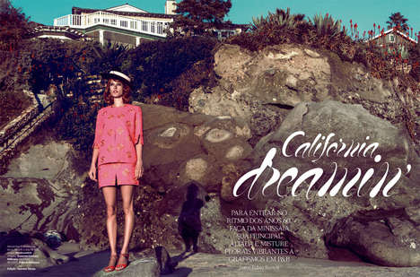 Retro Beachside Fashion - The Vogue Brazil 'California Dreamin' Editorial Stars Alessandra Ambrosio