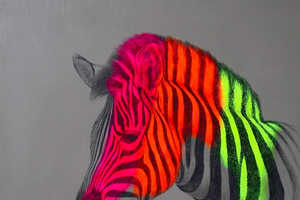 This Louise McNaught Art Features Neon Zebras