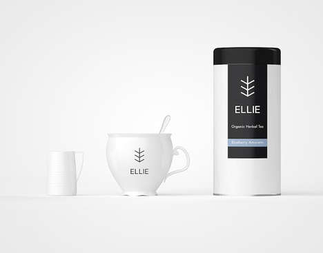 Simplified Foliage Branding - Ellie Tea Packaging Features a Perfect Symbol to Illustrate its Image
