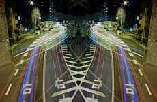 Symmetrical Neon Cityscapes
