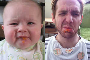 My Precious Roommate Blog Gets a Grown Man to Recreate Baby Pics